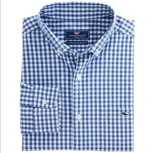 Vineyard Vines boy's Carleton blue & white shirt